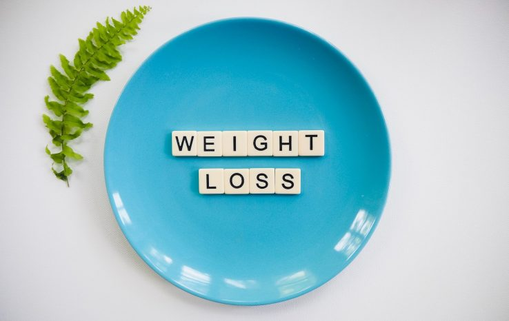 a dinner plate with weight loss written on it